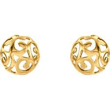 14k yellow gold swirl earrings post back