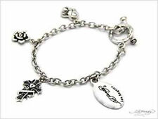 Ed Hardy Multi Charm Bracelet with Oval Logo ~ Stainless Steel toggle closure