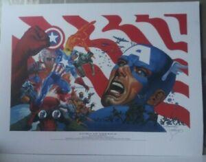 JIM STERANKO THE SPIRIT OF AMERICA CAPTAIN AMERICA RED SKULL 9/11 SIGNED LITHO