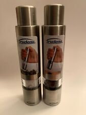 """Combo Trudeau 6"""" Stainless Steel One-Hand Thumb Pepper Mill / Salt Grinders"""