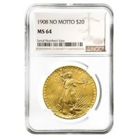 1908 $20 Gold Saint Gaudens Double Eagle Coin No Motto NGC MS 64