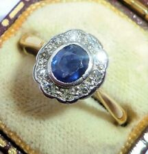Antique Art Deco 18ct Gold, Platinum, Sapphire & Diamond Ring, Size N, Rubover