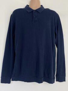 GANT navy blue pique long sleeve polo shirt top size XL DEFECT