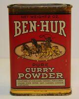 NEW Vintage 1940s METAL BEN HUR GRAPHIC SPICE TIN LITHO CAN SAN DIEGO CALIFORNIA