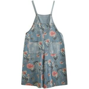 Women Floral Printed Denim Overalls Jumpsuit Trousers Wide Leg Jeans Romper