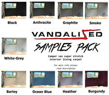 van campervan carpet samples all 9 colours black,greys,heather,barley,blue,red