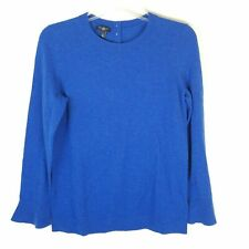 Talbots Pullover Sweater Women's Size Small Petite Solid Blue Bell Sleeves Wool