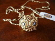 Fossil Party Animals Glitz Owl Large Gold Pendant Long Necklace $68 Super Rare!