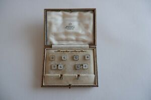 ART DECO MEN'S 18CT DIAMOND & M.O.P CUFFLINKS SET BY 'ASPREY' - C1930'S,  BOX