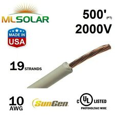 500FT 10 AWG Sungen Solar PV Wire 2000V Cable UL 4703 Copper MADE IN USA