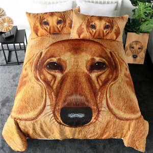 3D Brown Dachshund Dog Pet King Queen Twin Quilt Duvet Pillow Cover Bed Set