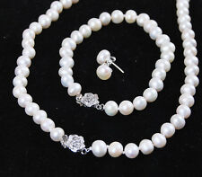 Bracelet Necklace Earrings Set Aa 7-8mm White Freshwater Cultured Pearl