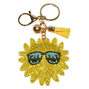 Sun Keychain for Girls and Women Crystal Bag Charm Bling Happy Face Backpack Cli