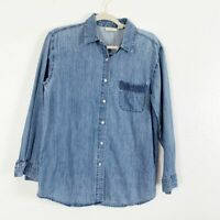 J. Jill Chambray Button Down Long Sleeve Shirt 100% Cotton Casual Women's Small