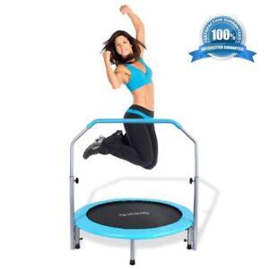 Serene-Life SLELT403 Trampoline w/ Handlebar Hand Rail Adult Indoor Home Gym