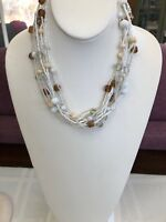 Vintage Bohemian Beaded multi Strand White brown tan Seed Bead Necklace 18""