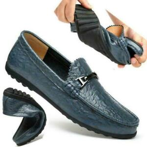 Mens Alligator Pattern Leather Shoes Casual Driving Moccasins Loafers Business