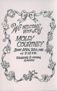 R. CRUMB - 1989 BIRTH ANNOUNCEMENT FOR  MOLLY - ART BY CRUMB!