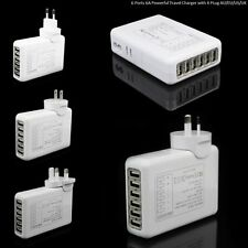 6a Model With Extra 6 USB Ports Travel Wall Multi Charger Plus 4 Plugs White