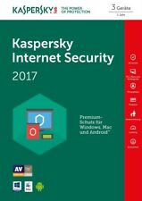 Kaspersky Internet Security 3-Geräte PC 2017 / 2018 - 1-Jahr  WIN - MAC / KEY