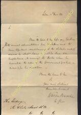 1811, PENINSULAR WAR. General Warren Peacocke, Governor of Lisbon signed letter