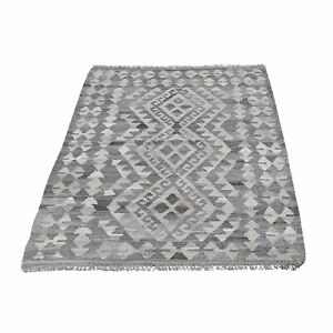 """3'5""""x4'10"""" Gray Afghan Kilim Reversible Undyed Natural Wool Handwoven Rug R66299"""