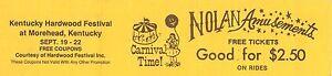 Morehead Kentucky Nolan Amusement Park Carnival Hardwood Festival 10 Ride Ticket