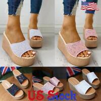 Women Wedge High Heel Slippers Platform Glitter Sandals Summer Slip On Shoes US