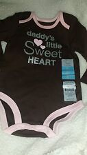 NWT Carter's Daddy's Little Sweet Heart Bodysuit Brown Pink 6 Months Valentines!