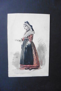 FRENCH SCHOOL 19thC - PORTRAIT OF A YOUNG WOMAN IN LOCAL DRESS - WATERCOLOR
