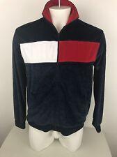 VTG 1990s Tommy Hilfiger Jeans Track Jacket Velour Block Flag Hip Hop Medium 71a