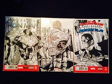 Age Of Ultron #1 Connecting Sketch Covers of Iron Man,Captain America,Ultron COA Comic Art