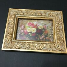"""Towle Frame Ornate Goldtone Raised Repousse w Still Life Roses Floral 5.5"""" x 7"""""""
