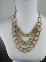 Beautiful gold tone linked multi chains statement  necklace