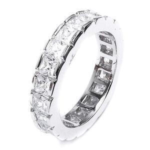 Sterling Silver .925 CZ Women's Princess Cut Eternity Wedding Band Ring 4-10