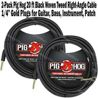 2-Pack PIG HOG 20 ft BLACK RIGHT ANGLE GUITAR PATCH CABLE 1/4 CORD PigHog NEW