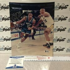 ALONZO MOURNING SIGNED AUTOGRAPHED 8X10 BASKETBALL PHOTOGRAPH-BECKETT BAS COA