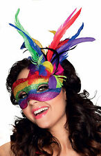 Carnival Masquerade Venice Feather Rainbow Eye Mask Ladies Fancy Dress Gay Pride