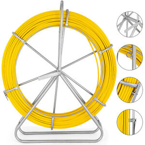 DC HOUSE 425FT 6MM Duct Rodder Fish Tape Continuous Fiberglass Reel Wire Cable Running with Cage and Wheel Stand