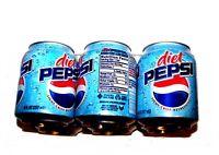 Vintage Diet Pepsi Cola 2000's 8oz Mini Can Six Pack A1+ NOS Sign Clock Coke Ofr