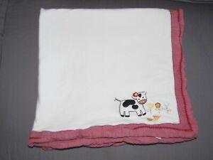 Gymboree 2003 Girl Home on the Range Red White Stripe Cow Baby Blanket Cotton