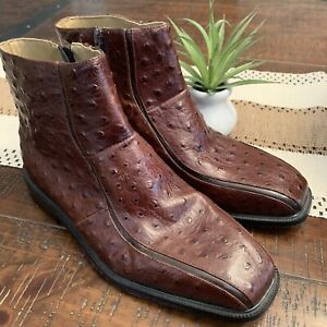 Giorgio Brutini Ankle Boots Ostrich Leather Brown Side Zip Mens 8M
