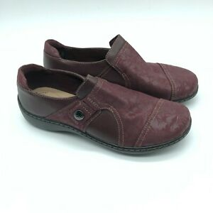 Collection Clarks Womens Cora Poppy Loafers Slip On Leather Floral Burgundy 6.5