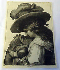 1882 magazine engraving ~ MOTHER'S PRIDE, woman in large hat cradles baby
