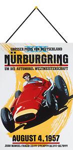 Nürburgring August 1957 Schild mit Kordel Metal Tin Sign 20 x 30 cm FA0463-K