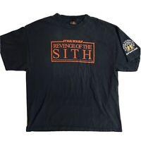 2005 Star Wars Revenge Of The Sith Black Fan Club T-Shirt Tee XL Lucas Film