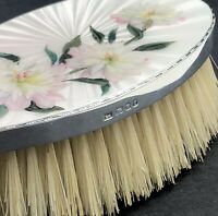 Fine quality silver and guilloche enamel hair brush London 1960