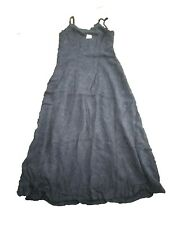 NEW OILILY Ladies Womens Viscose  Embroidered Navy Blue Long  Dress Size 40S 10
