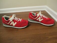 Used Worn Size 13 New Balance 574 Shoes Red White Gray