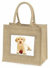 Yellow Labrador Puppy with Rose Large Natural Jute Shopping Bag Chris, AD-L4RBLN
